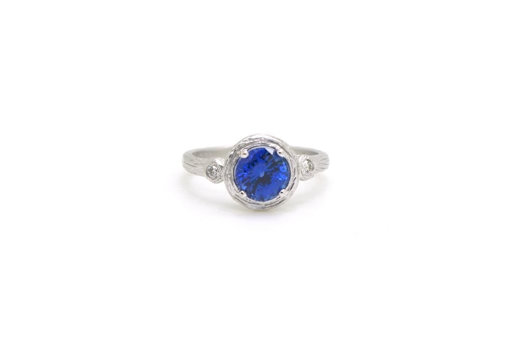 14k White Gold Round Synthetic Sapphire & Diamond Ring - 1.30 ct. total - Size 7