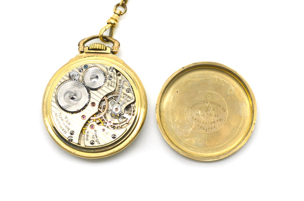 Vintage 10k Yellow Gold Filled Hamilton Watch Co. 21 Jewels Pocket Watch & Chain
