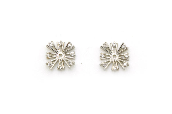 14k White Gold Diamond Cluster Starburst Jackets for Stud Earrings - .10 ct. tw