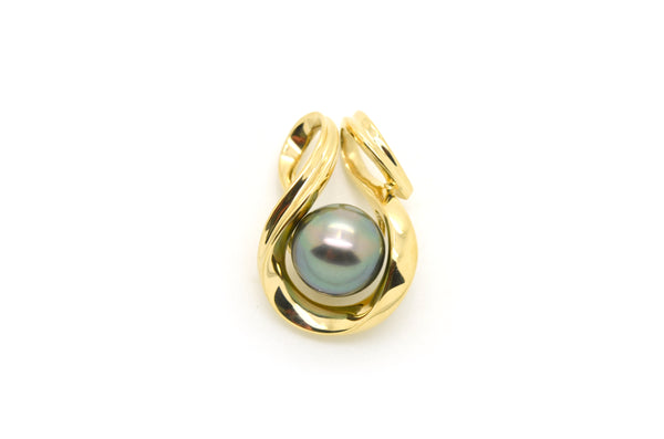 14k Yellow Gold 13.6 mm Black Tahitian Pearl Statement Loop Pendant - 34 mm drop