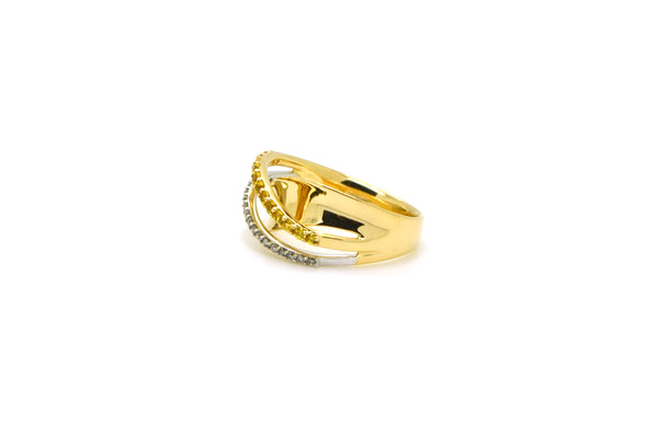 14k Yellow Gold Round Yellow & White Diamond Band Ring - .35 ct. tw - Size 6.5