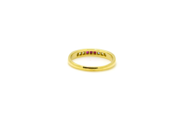 18k Yellow Gold Round Red Ruby & Diamond Band Ring - .10 ct. total - Size 6