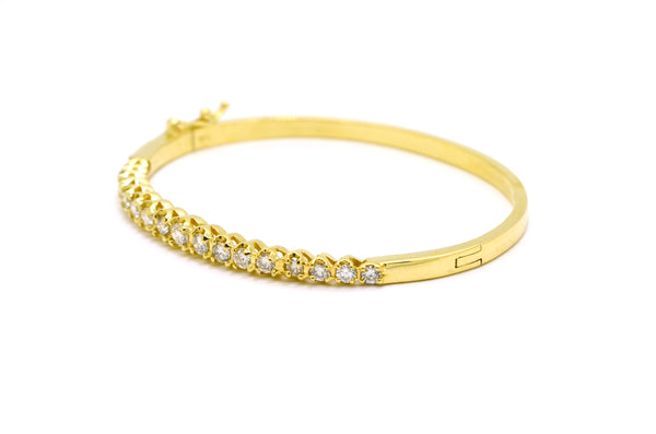14k Yellow Gold Round Diamond Bangle Bracelet - 2.00 ct. total - 6.75 in.