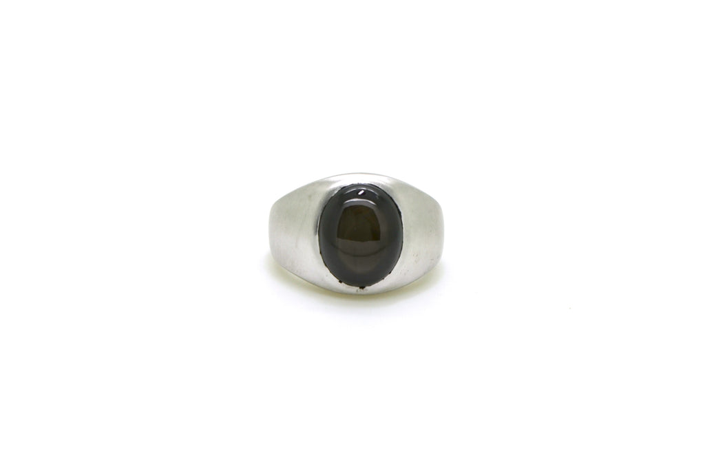 Vintage 14k White Gold Black Star Sapphire Signet Ring - 8.00 ct. - Size 7