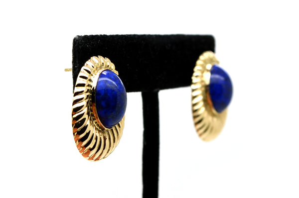 14k Yellow Gold Bezel-Set Oval Shaped Blue Lapis Fluted Stud Cocktail Earrings