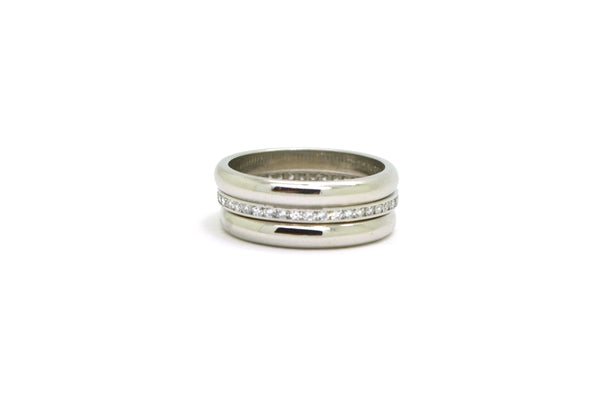 Platinum Diamond Eternity & Plain Stacking Rings - .40 ct. total - Size 5.25