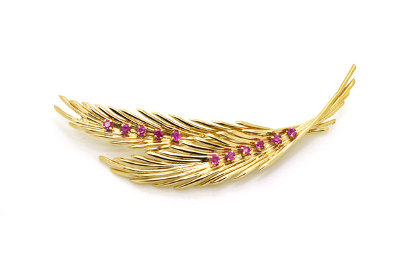 14k Yellow Gold Fan Fern Palm Foliage Ruby Brooch Pin 82 by 19mm - .60 ct. total
