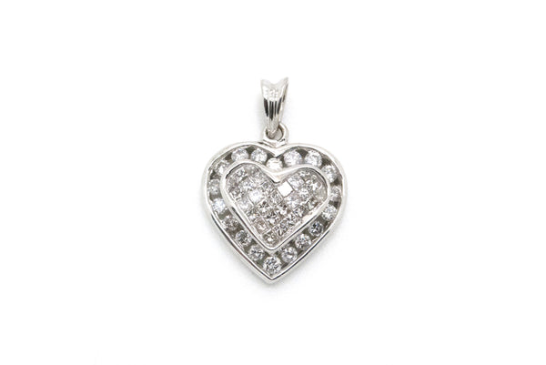 14k White Gold Heart Shaped Pendant with Diamonds - .95 ct. total - 2.2 dwt
