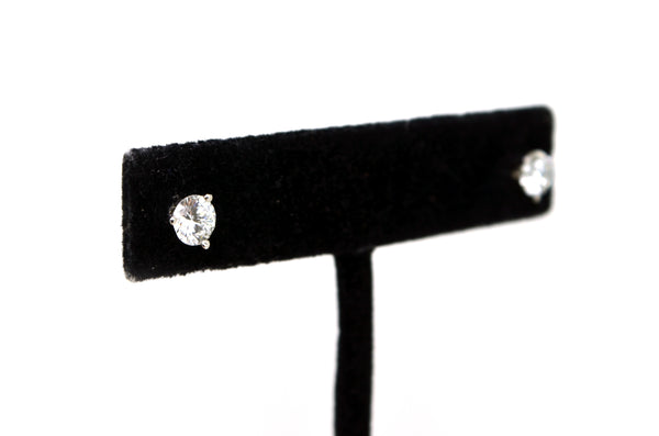 14k White Gold Round Diamond 3-Prong Martini Stud Earrings - 1.12 ct. total