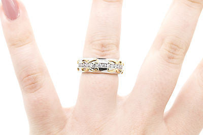 Platinum & 18k Yellow Gold Diamond Channel Eternity Band Ring - 2.00 ct - Size 6