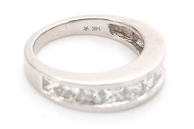 14k White Gold Channel Princess Diamond Wedding Band Ring - 1.50 ct. - Size 5.5
