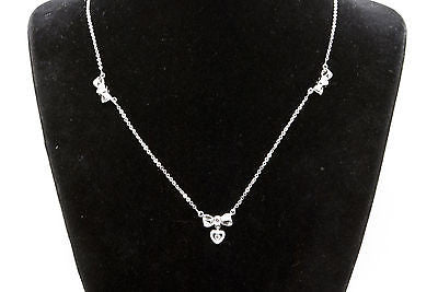 Vintage 14k White Gold Ribbon Bow Tie Heart Necklace - Diamonds .10 ct. - 16 in.