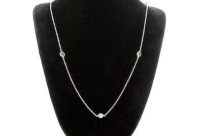 14k White Gold Orange Sapphire & Diamond by-the-Yard Style Necklace - 2.12 ct.