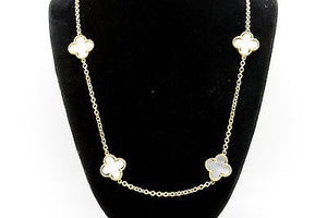 18k Yellow Gold Mother of Pearl Alhambra Style 10 Clover Motif Necklace - 26.5in