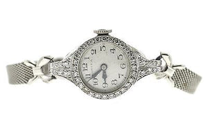 Vintage Ladies Hamilton Mechanical Platinum and Diamond Watch WORKING .25 CTTW