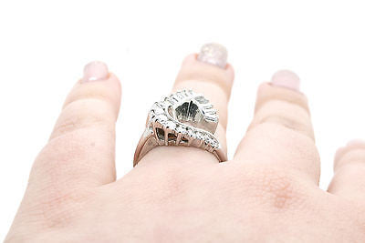 14k White Gold Diamond Engagement Ring Jacket for Pear Shape - .30 ct. -Size 6.5