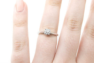 18k White Gold Round Diamond Solitaire Engagement Ring - .50 ct G/SI1 - Size 5.5