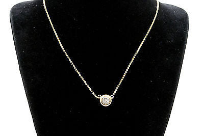 14k Yellow Gold Diamond Bezel Solitaire Necklace on Cable Chain - .35 ct - 16 in