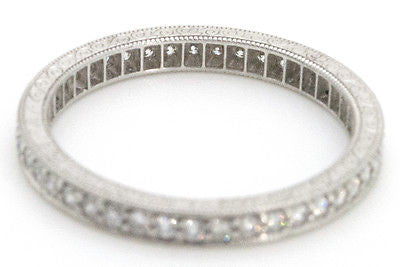 Platinum Round Diamond Pave-Set Eternity Band Ring - Engraved - .50 ct - Size 6