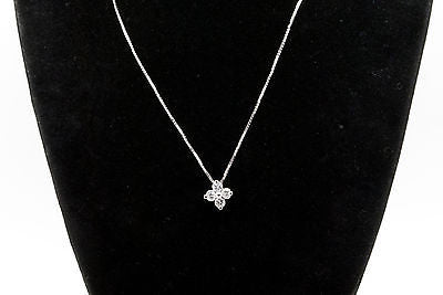 14k White Gold Round Diamond Cluster Pendant Necklace - .40 ct. H / I1 - 18 in.