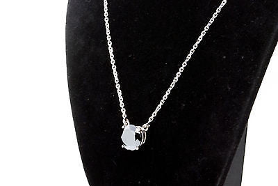 14k White Gold Four Prong Solitaire Necklace with 11 mm Hematite Stone - 16.5 in