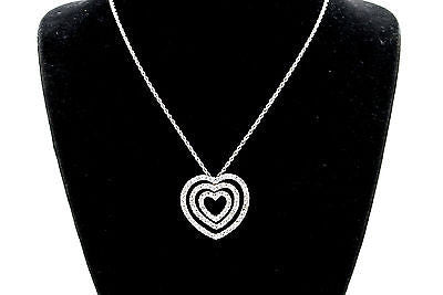 Vintage 14k White Gold Diamond 3-Tiered Heart Necklace - 1.00 ct - 15-18 in. adj