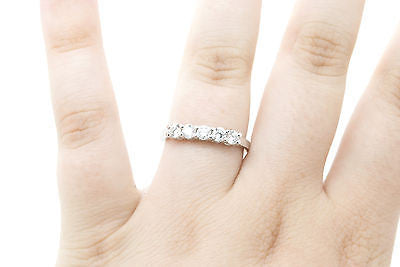 14k White Gold Round Five Diamond Wedding Band Ring - .70 ct total - Size 8.25