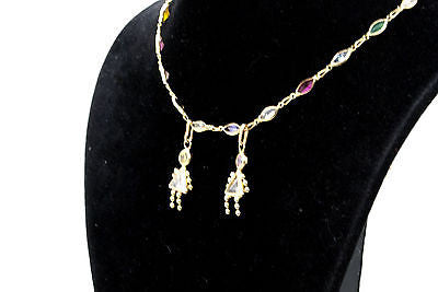 14k Yellow Gold Multi-Colored Gemstone Necklace with Kids Charms - 16 in.