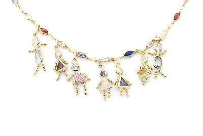 14k Yellow Gold Multi-Colored Gemstone Necklace with Kids Charms - 17.5 in.
