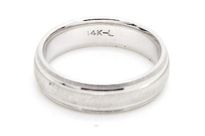 Leiberfarb 14k White Gold Polished & Textured 6 mm Wedding Band Ring - Size 10