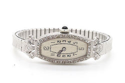 Vintage Ladies Platinum Elem Watch with Diamonds - 15 Jewels - .35 ct. total