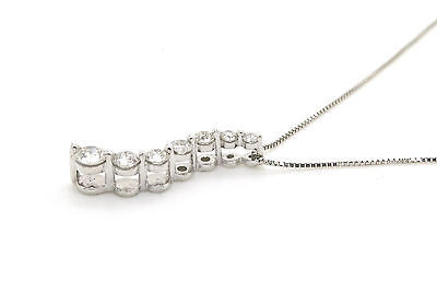 14k White Gold Seven Round Diamond Journey Necklace - .20 ct. total - 18 in.