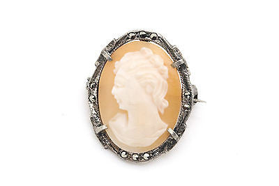 800 Silver Set of Vintage Cameo Jewelry Matching Ring & Brooch - Size 5.5