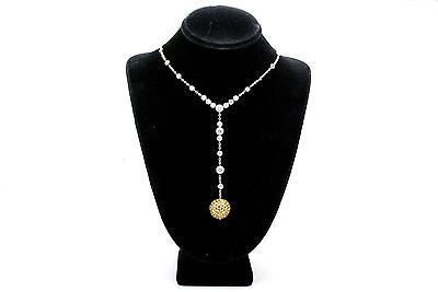 6c02880f9b1b04 18k White Gold Yellow Sapphire & Diamond Y Necklace - 4.00 ct. total - 16