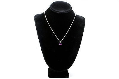 14k White Gold Pink Tourmaline Solitaire Pendant Necklace - .75 ct. - 18 in.