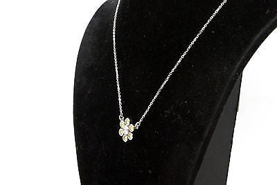 14k White Gold Yellow & White Diamond Flower Cluster Necklace - .50 ct - 16 in.