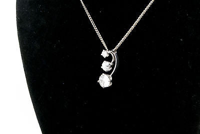 14k White Gold Prong Set 3 Diamond Journey Necklace - 1.0 ct total G/SI1 18.5 in