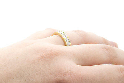 Vintage 18k Yellow Gold Baguette Diamond Wedding Band Ring - 1.00 ct. - Size 6.5