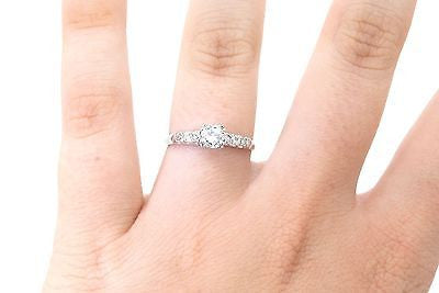 Vintage 14k White Gold Diamond Engagement/Promise Ring - .50 ct. tw - Size 7.5