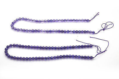 "Two Strands Of Round Purple Amethyst Beads - 7 mm Diameter - 30""+ in. of Beads"