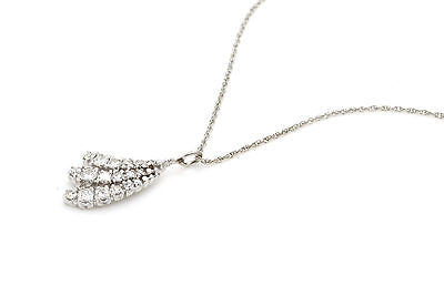 14k White Gold Diamond Cluster Pendant Necklace - .50 ct. total G / SI1 - 14 in.