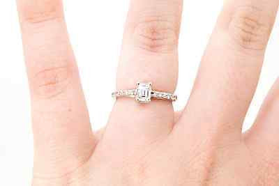 14k White Gold Emerald Cut Diamond Engagement Ring w/ Sides - .50 ct. - Size 5.5