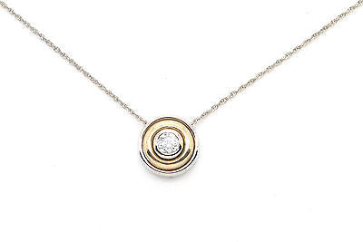 14k White & Yellow Gold Diamond Bezel Solitaire Necklace - .50 ct. H/I1 - 15 in.