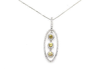 18k White Gold Diamond & Yellow Sapphire Pendant Necklace - 1.40 ct. - 18 in.