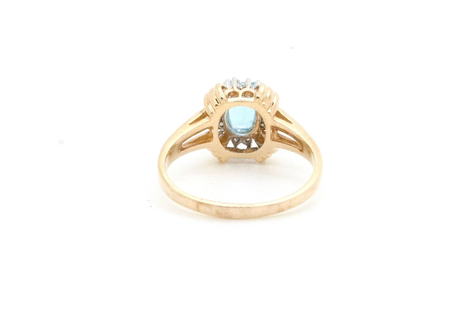14k Yellow Gold Blue Topaz and Diamond Ring - 1.35 ct. total - Size 9.75