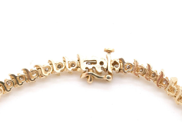 Vintage 14k Yellow Gold Diamond Link Tennis Fine Bracelet - 2.00 ct. - 7.25 in.