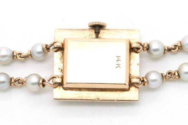 Vintage Ladies 14k Yellow Gold Tosca Easton 17 Jewel Watch with Pearls - 7.25 in