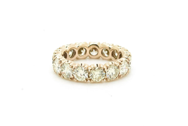 14k Yellow Gold Round Diamond Eternity Wedding Band Ring - 5.25 ct. - Size 6.5