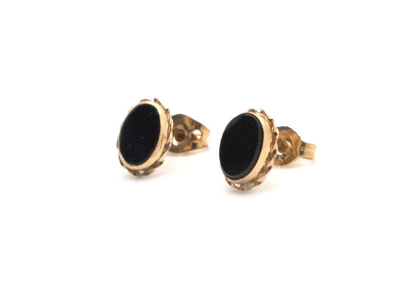 Estate Vintage 14k Yellow Gold Stud Style Earrings with Onyx Stones