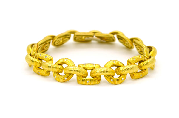 18k Yellow Gold Morelli Textured Diamond Link Bracelet - .40 ct. total - 7.5 in.